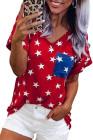 USA Star Print camiseta roja con bolsillo de parche