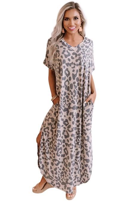 Neformální šaty Leopard Maxi se štěrbinami