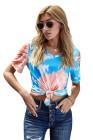 Blue Gradient Tie Dye camiseta con cuello en V