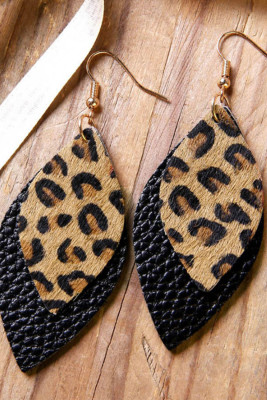 Серьги из черной кожи с леопардовым принтом
