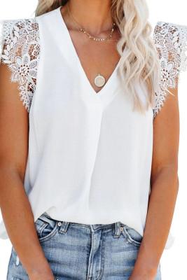 Blusa de encaje de ganchillo sin mangas blanca