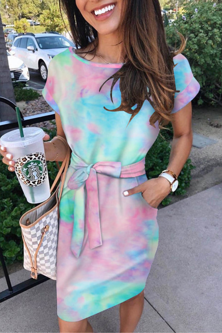 Abito t-shirt tinta unita multicolor con cintura