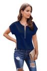 Blusa Azul Con Cremallera