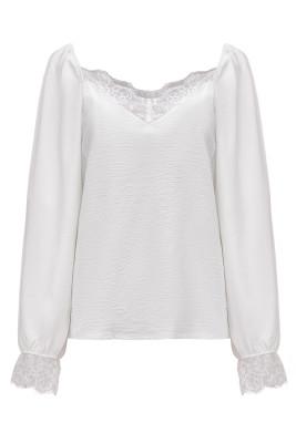 Blusa de encaje blanco satinado