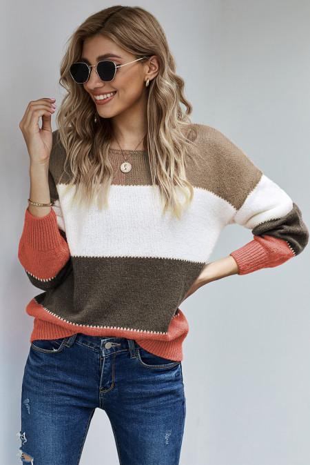 Коричневый пуловер с цветными блоками Зимний свитер