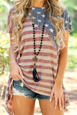 Blusa asimétrica bandera americana