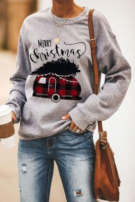 Sudadera gris con estampado de letras Merry Christmas