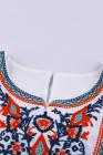 Top de manga corta con volantes blancos y estampado retro bordado