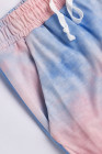 Camicia a maniche lunghe tie-dye blu con pantaloni lounge set