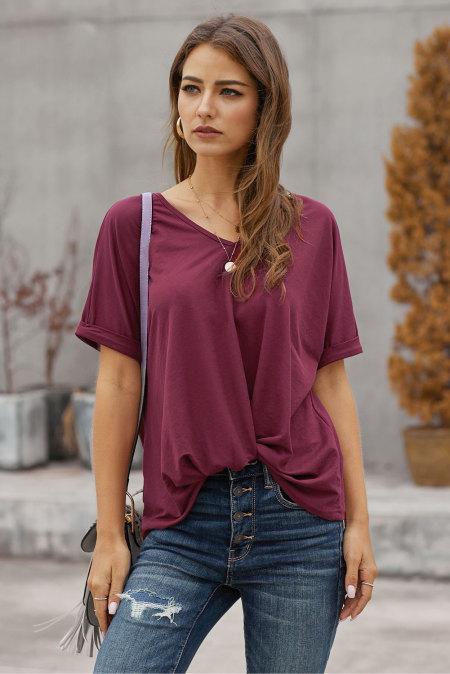 Camiseta de manga corta en color liso burdeos