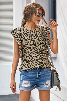 Camiseta de manga gorra con volantes y estampado de leopardo