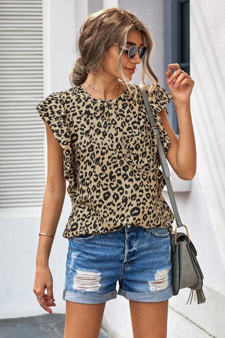 Tričko Leopard Print Ruffled Cap Sleeve