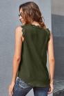 Top sin mangas con cuello en V y pestañas sin mangas verde