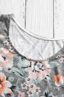 Camiseta gris con estampado floral y rayas de Spring Spring