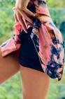 شورت التنورة ذات الخصر العالي بطبقة مزدوجة باللون الوردي