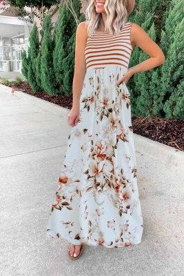 مخطط طباعة خليط فستان ماكسي أحمر