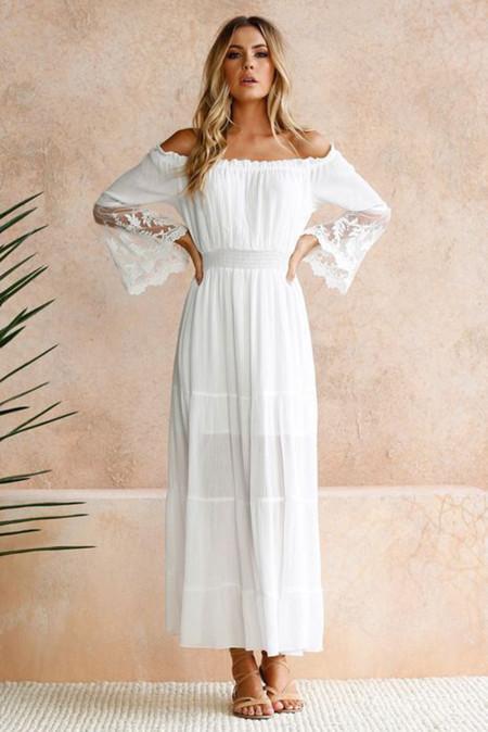 ホワイトオフショルダー刺繍フレアスリーブレースマキシドレス