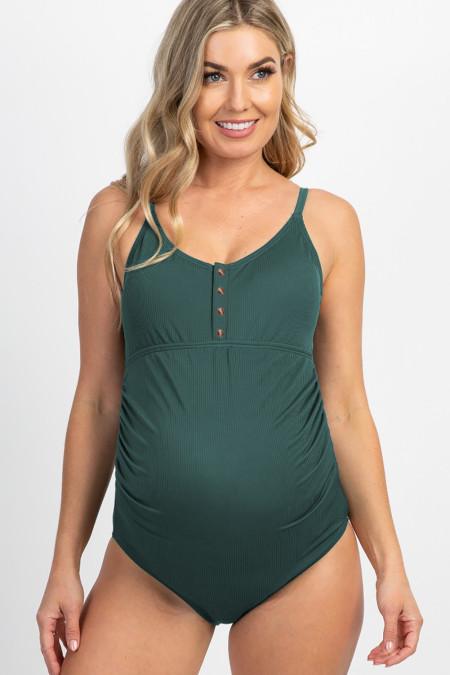 Maillot de bain de grossesse une pièce côtelé vert à boutons-pression