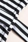 Robe t-shirt à poches et rayures noires avec ceinture