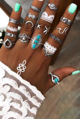 Maan en bloem vormige metalen zilveren ringen set