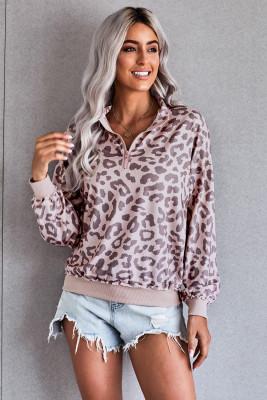 Sudadera con cuello y cremallera de leopardo rosa
