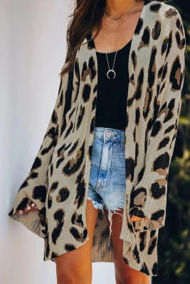 Lehký pletený leopard Cardigan