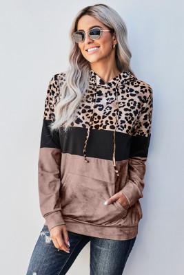 Hoodie mit Leopardenmuster im Farbblock-Design