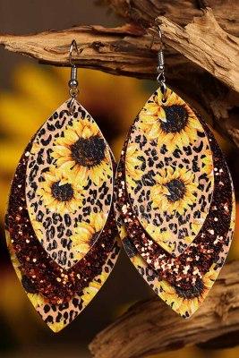 Многослойные кожаные серьги с золотыми блестками и подсолнухом с леопардовым принтом
