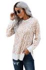 قميص فضفاض بياقة مستديرة وأكمام طويلة وطبعة ليوبارد
