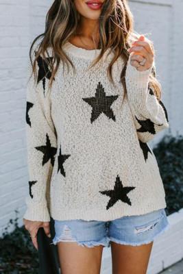 Suéter de estrella de punto blanco