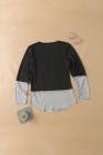 Top de manga larga con cuello redondo y lentejuelas de bolsillo a rayas