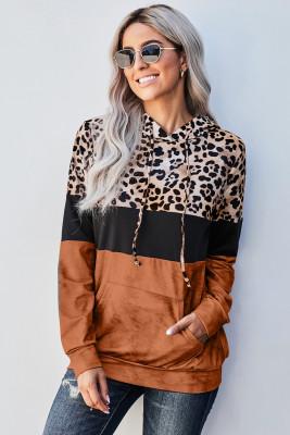 Sudadera con capucha de color block con efecto tie dye de leopardo naranja