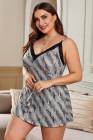 Vestido de pijama con estampado animal y cuello en V de encaje sexy