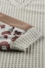 بلوزة بأكمام طويلة منسوجة بطبعة جلد الفهد موكا