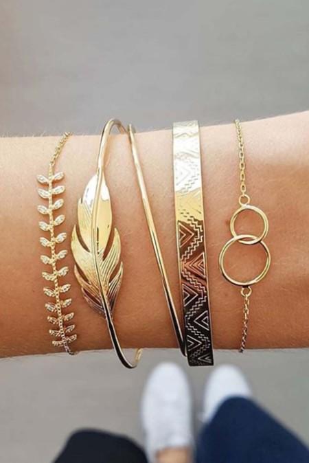5 stuks gouden bladeren armbanden
