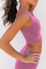 حمالة صدر رياضية محبوكة باللون الوردي