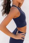صدرية رياضية محبوكة باللون الأزرق