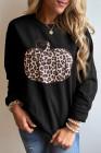 Animal Print Pumpkin Graphic Schwarzes Sweatshirt