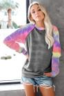 Graue Langarm-Sweatshirts mit Batikdruck