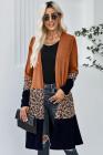 Оранжевый леопардовый кардиган с цветными вставками