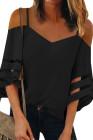 Черные бретельки спагетти с открытыми плечами и блузкой с белыми рукавами