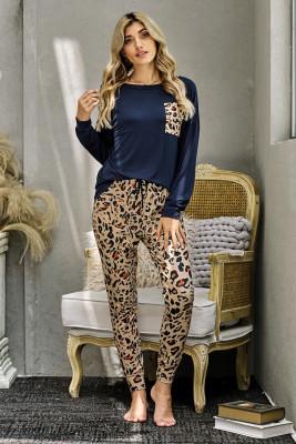 Ensemble décontracté de pantalon léopard à manches longues bleu