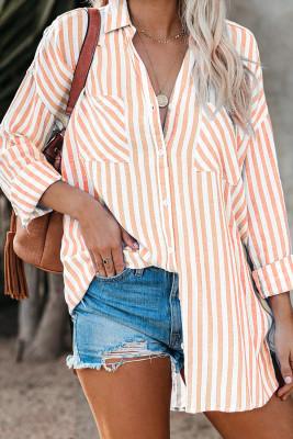Blusa de botones de manga caída de lino a rayas naranjas con bolsillo
