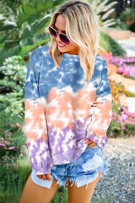 Klassisches Farbblock-Tie-Dye-Pullover-Sweatshirt