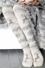 عيد الميلاد طباعة على جوارب الركبة محبوك