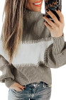 Khaki Color Block Pullover mit hohem Halsausschnitt