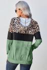 Grüner Leopard Tie Dye Colorblock Hoodie