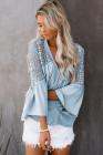 Blusa de crochet The Du Jour azul cielo