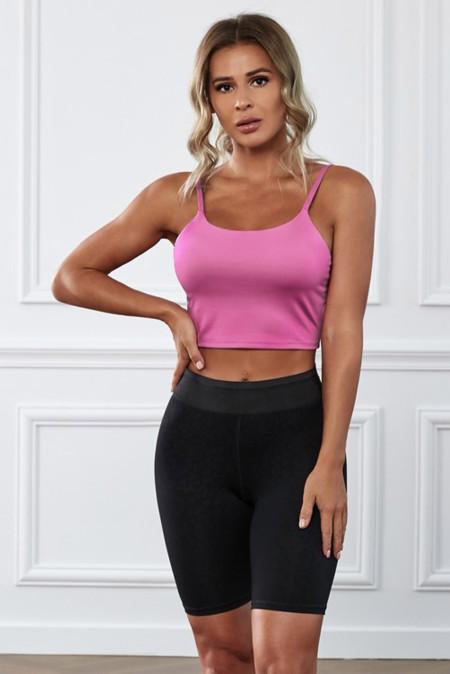 حمالة صدر يوجا رياضية بدون خياطة باللون الوردي