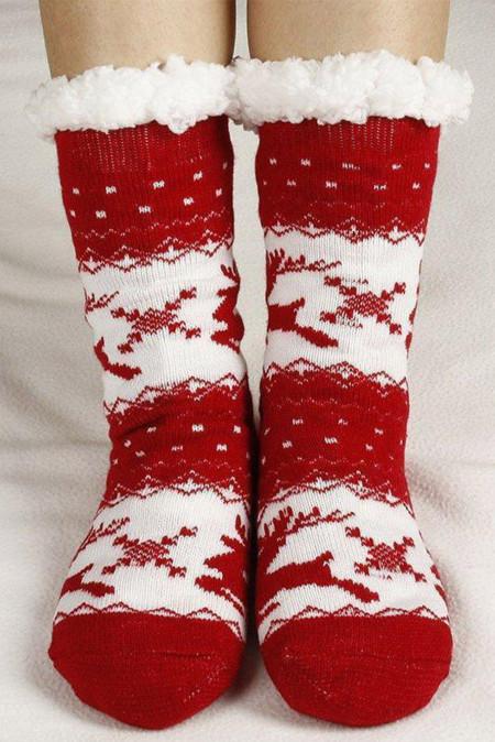 جوارب منسوجة مطبوعة باللون الأحمر